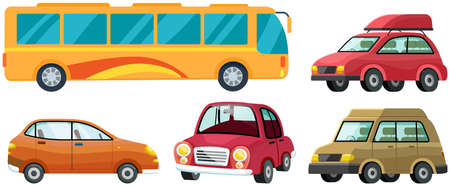 Modern automobile and yellow traveler bus set. Minivan or multi purpose vehicle isolated on white. Convenient mean of transportation, modern model of car. Economical family car, tourist autocar