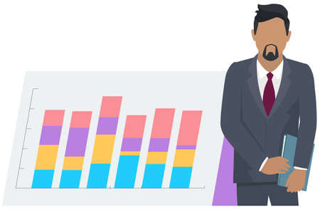 Man financial analyst. Professional businessman analyzing business growth by statistical dashboard. Marketing research concept flat design with person standing near broadsheet with success diagram