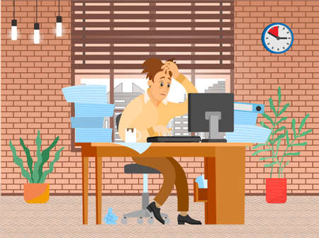 Tired businessman in pile of office papers and documents trying to finish work on deadline. Stress and difficulties at work. Male office employee is working with computer to deal with deadlines Vector Illustratie