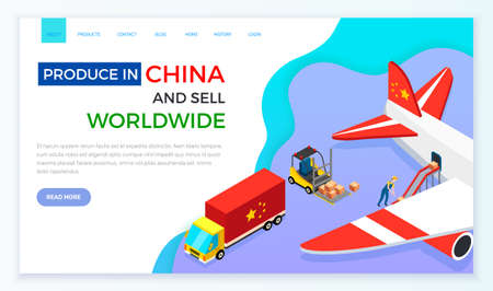 Cargo aircraft vector illustration. Loading airplane parcels and containers airport truck refueling. International delivery of goods from China. Web site on topic of online sales and shopping in china