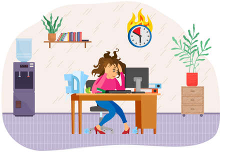 Stressed business lady works at computer in office to finish work before deadline. Female character trying to complete task in time. Working in office and implementation of assign tasks concept