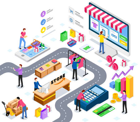 Online trading marketplace, buy in worlds largest wholesale platform. Buyers, delivery and tracking, salers and payment system, support center. Buy and sell goods worldwide vector illustration Vektoros illusztráció