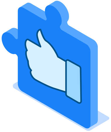 Thumb up icon. Hand gesture, clenched fist and finger raised up on puzzle block flat vector illustration. Good symbol for website design, logo. Sign is all very good, I m fine. Gesture hitch-hiking