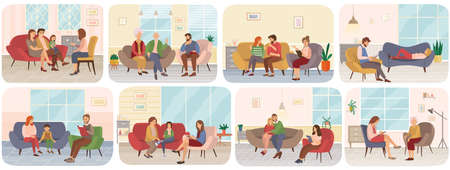 Set of scenes about psychotherapy sessions with family and psychotherapist, psychological problems. People sit at reception of specialist. Psychologists write down their patients questions on paper Vektorové ilustrace