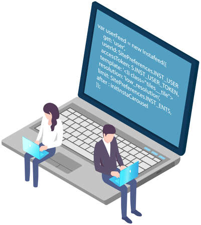 Programmers working on computers. Programming or coding concept. Cartoon characters work with laptops, create program code. IT specialists are engaged in programming. Teamwork with coding and programs Vetores