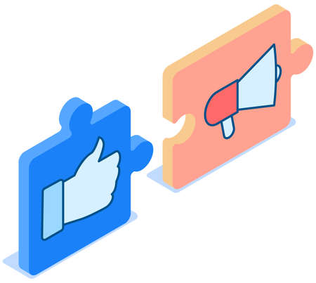 Megaphone icon on puzzle block, loudspeaker sound amplification device on white background. Thumb up icon. Hand gesture, clenched fist and finger raised up on puzzle block vector illustration Ilustración de vector