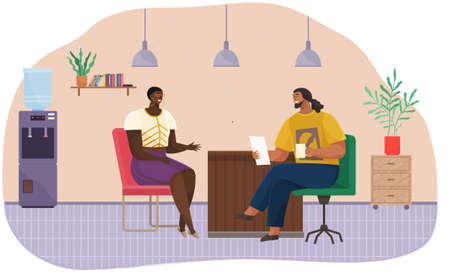 Colleagues talking in office. Coworkers relaxing, chatting cartoon characters, smiling man and woman siting at table. Corporate worker, business people communicate, discussion. Coworking open space