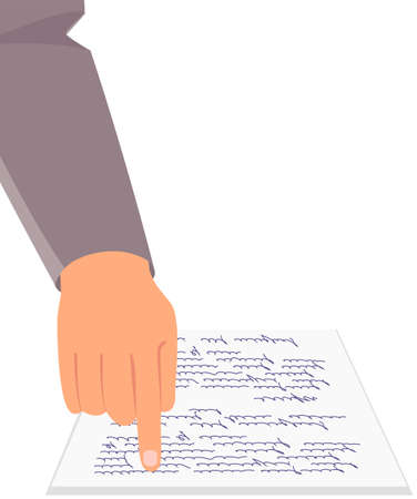 Businessman in business clothes points with hand to document. Sheet of white paper with written text. Finger pointing to important in document. Viewing, reading document pay attention to significant