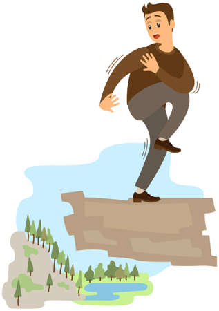 Man suffering from fear of of heights. Person is scared of abyss below. Male character fearfully looks at something. Fear of heights, phobia, horror. Frightened guy on rock suffers from acrophobia