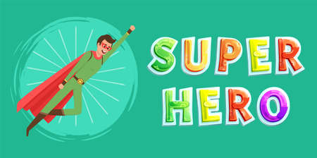 Strong super man smiles and flies to save world stretched out his hand. Brave character in superhero costume with cloak on white background. Cartoon person hurries to protects people from villains Vektoros illusztráció