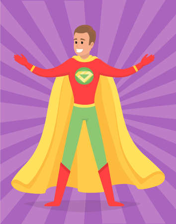 Strong super man smiles and flies to save world stretched out his hand. Brave character in superhero costume with cloak on white background. Cartoon person hurries to protects people from villains