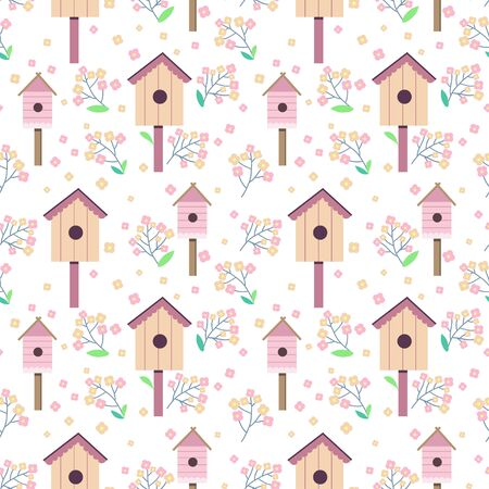 Seamless pattern with stalling birds and birdhouses with blossom branches.