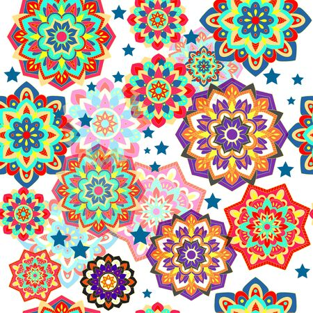 Colorful seamless pattern with plants and floral elements. Bright psychedelic background.