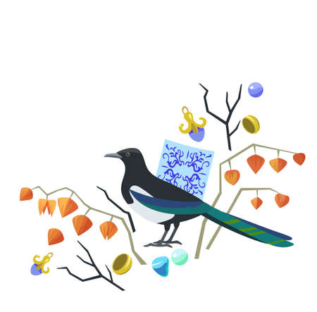 Cute original illustration with magpie, majolic elements, physalis and jewelry. Vector original illustration.