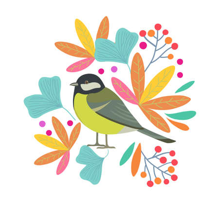 Cute vector flat design with bird and branches with leaves and berries . Vector illustration