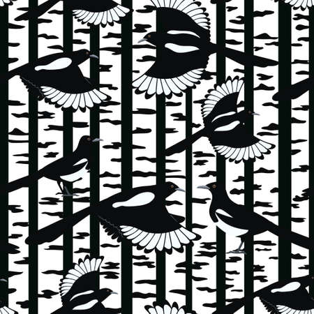 Seamless pattern with magpies birds flying in a birch forest. Vector coloful illustration