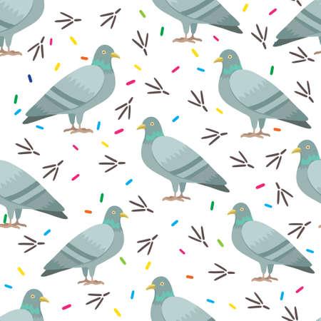Seamless pattern with cute cartoon pigeons. Vector original illustration.