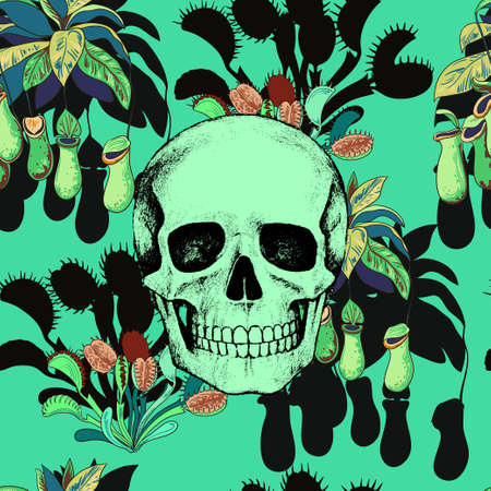 Seamless pattern with scull and carnivorous plants. Vector illustration Ilustração