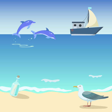Ship in the sea with dolphins, bottle and seagull. Vector original illustration.