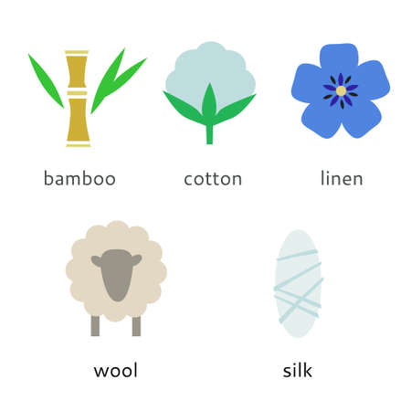 Set of natural fibers icons in a flat style. Vector original illustration.