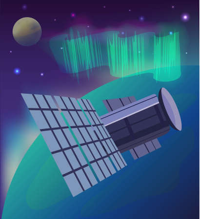 Vector illustration of space, stars, satellite, planet and northern lights. Ilustrace