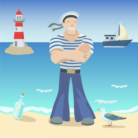 Smiling sailor on the coast with sea on the background and the lighthouse. Vector original illustration.