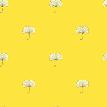 Seamless pattern with ginkgo flowers. Retro texture in Asian style. Vector original illustration  イラスト・ベクター素材