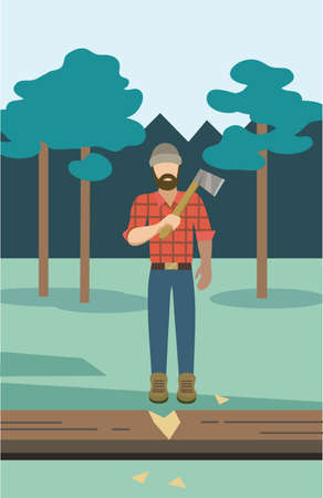 Vector illustration with lumber in the forest. Vector illustration.
