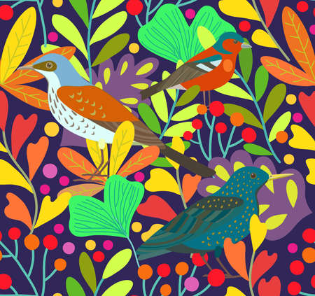 Cute seamless pattern with birds and berry elements. Vector original illustration