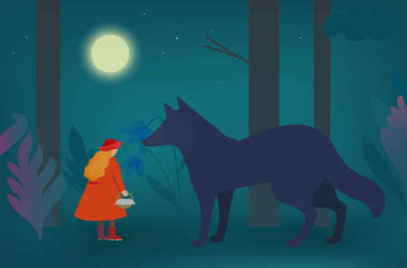 Little Red Riding Hood and wolf in the dark forest. Vector original illustration