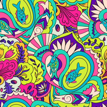 Seamless pattern with colorful abstract and floral elements. Vector illustration Ilustração Vetorial