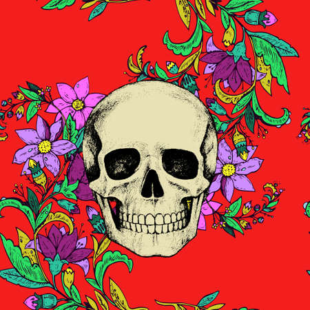 Seamless pattern with flowers and skull on green background. Vector illustration