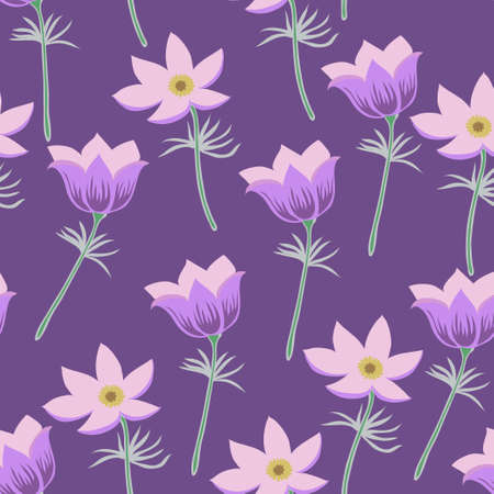 Vector Illustration with pasque flowers and leaves