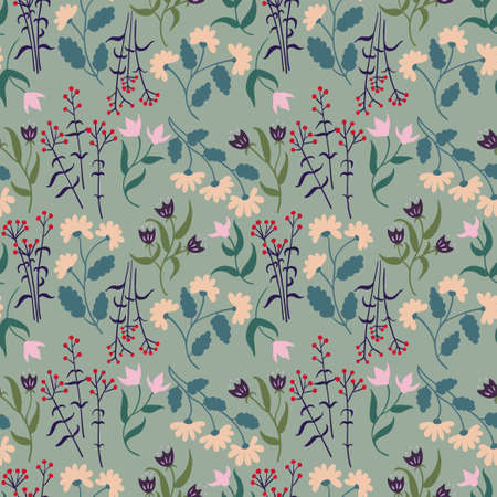 Seamless pattern with plants abstract floral elements . Vector illustration
