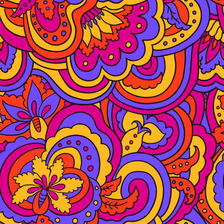 Psychedelic colorful floral seamless pattern. Vector illustration