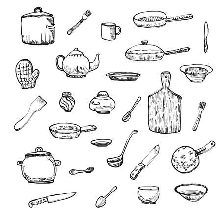 Ink hand drawn dishes big set. Vector illustration