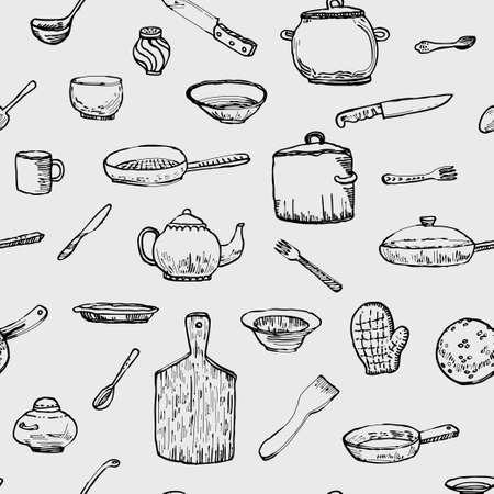 Ink hand drawn dishes big set. Vector illustration 向量圖像