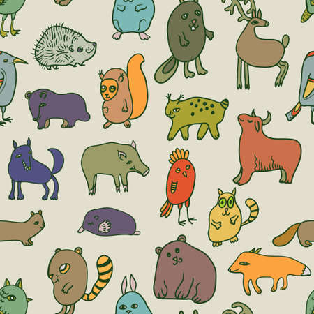 Big set with cute cartoon doodle animals . Vector illustration