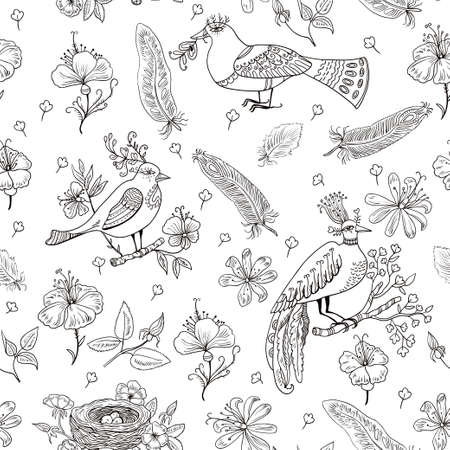 Seamless pattern with amazing fairy birds and flowers. Vector illustration
