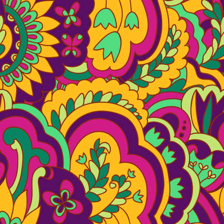 Bright psychedelic pattern with colorful curly doodle motifs. Vector illustration