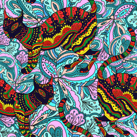 Seamless pattern with ornamental psychedelic cat. Vector illustration