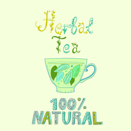 Hand drawn vector cup with herbal tea. Vector illustration