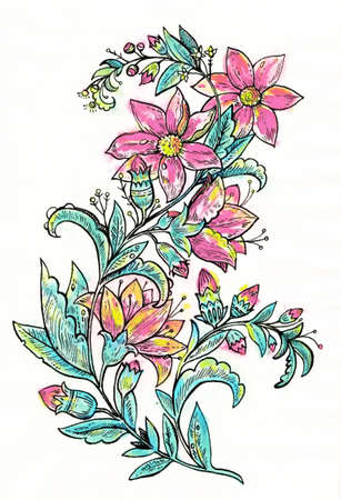 Vintage retro floral branch for design and decorations. Ink hand drawing. High quality painting
