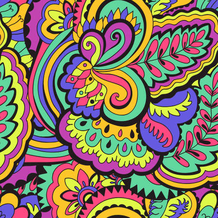 Seamless psychedelic pattern with crazy colorful ornamental elements. Vector illustration Vetores
