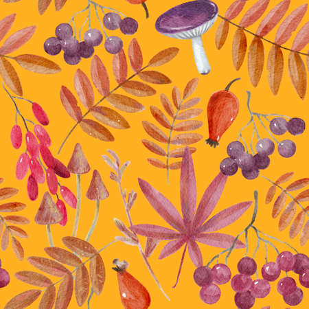 Seamless pattern with watercolor autumn elements. High quality painting
