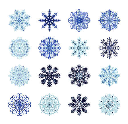 Big set with cute original snowflakes. Collection of vector winter Christmas and New Year decoration elements. . Vector illustration