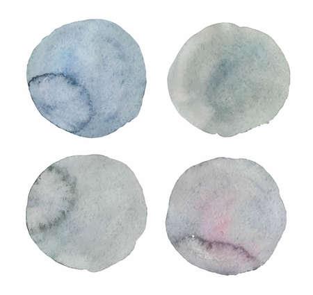 Set of four gray vector watercolor textured dots. Vector illustration Vetores