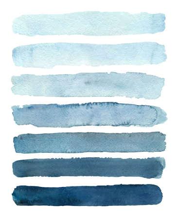 Set of blue gradient watercolor samples. Vector illustration