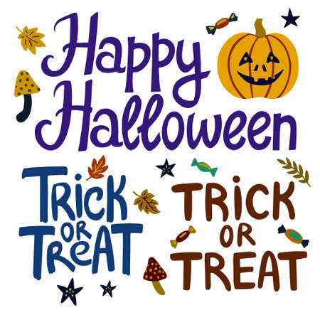 Halloween hand drawn lettering elements for design of flyers, banners and greeting cards. Vector illustration Vettoriali