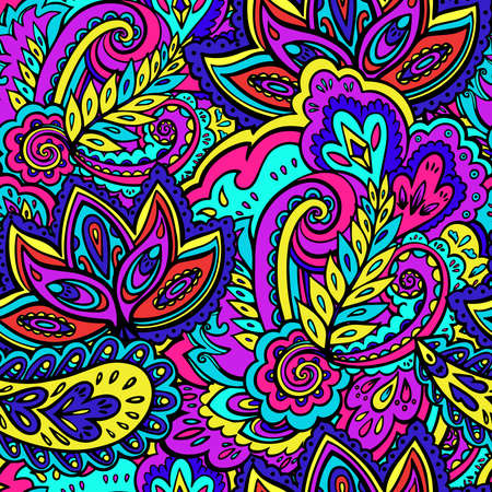 Psychedelic bright seamless texture with colorful plant and floral elements. Vector illustration